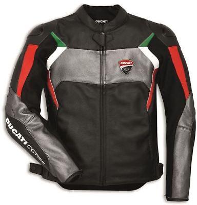 BLACK DUCATI CORSE  MOTORBIKE RACING LEATHER JACKET CE APPROVED  Ducati Corse Leather Jacket