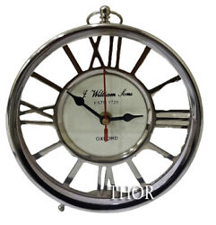 Vintage Collectible Chrome Finish 6 Clock Table Decor Style Maritime Clock