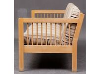 Vintage retro Danish mid century 2 3 seater sofa couch wooden frame lose stripy cushions