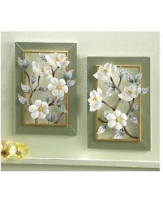 Set of 2 Floral Magnolia Flower Blossoms Metal Wall Plaques Art Hangings Decor