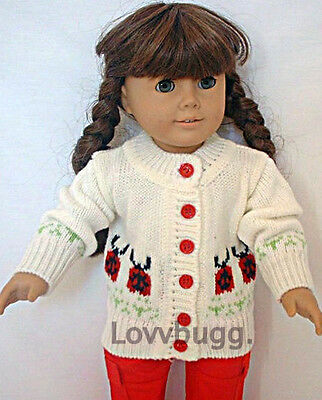 "Lovvbugg  Ladybug Sweater for 18"" American Girl or Bitty Baby Doll Clothes"