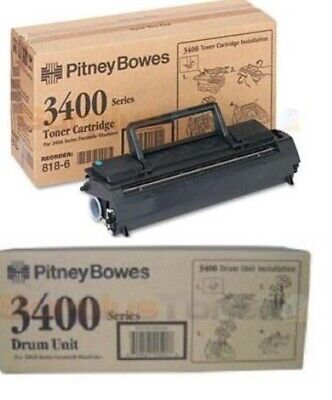 2 NEW GENUINE Factory Sealed Pitney Bowes 818-6 Toner and 818-7 Drum