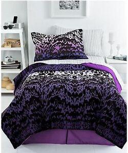 Republic ombre animal 4pc queen comforter set cheetah purple black white 180 ebay - Teen cheetah bedding ...