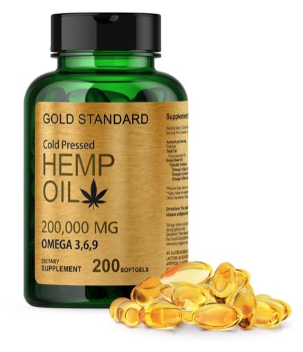 200,000mg HEMP SEED OIL SOFTGELS Omega 3 6 9 Fatty Acids COLD PRESSED CAPSULE