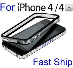 Apple-iPhone-4-4S-4G-Black-Clear-Bumper-Case-Cover-W-Metal-Buttons-S-G