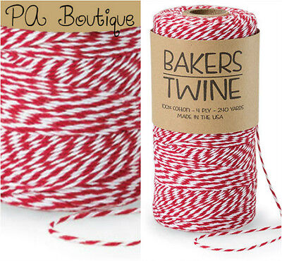 Cherry Red & White Duo 4-ply 100% Cotton Baker's Twine *Your Choice of Length*](Baker's Twine)