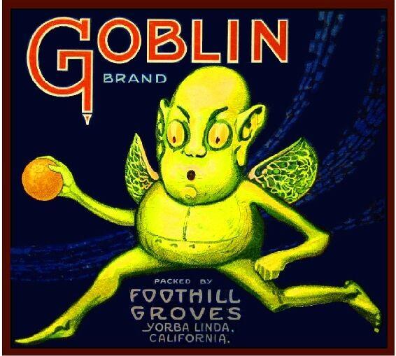Yorba Linda Goblin Halloween Orange Citrus Fruit Crate Box Label Art Print