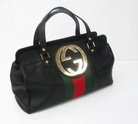 VTG GUCCI Pebbled Black Leather Handbag with Stripe & GG Logo