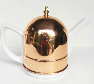 Vintage  Porcelain Copper Cozy Teapot Genin Trudeau