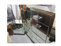 Mirrored chest of drawers and matching bedside table cabinets