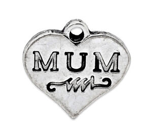 5 ANTIQUE SILVER MUM LOVE HEART CHARMS PENDANT ~ Embellishment~Bracelet (30F) UK