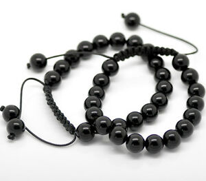 Men Women Bracelet Black Onyx Beads Adjustable 8.7-10