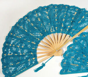 Intense-Turquoise-Blue-Battenburg-Lace-Fan-Victorian-Style-Vintage-Antique-Look