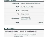 2 x London to Glasgow Caledonian Sleeper Berth Tickets (one way - 27/12/17)