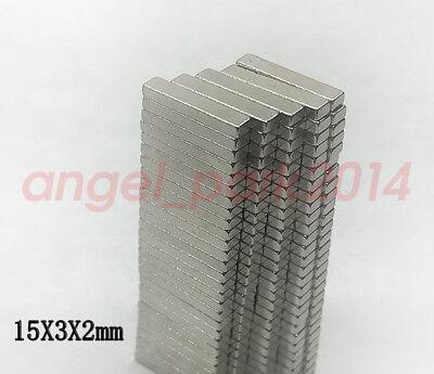 50-200pcs 15mm X 3mm X 2mm Strong Bar Block Magnets Rare Earth Neodymium N50