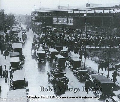 Chicago Vintage Wrigley Field Cubs, Baseball Bears football photo print 1915