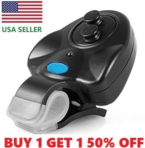 Electronic LED Light Fish Bite Sound Alarm Bell Clip On Fishing Rod USA SELLER