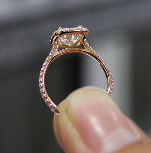 1.70 Ct Natural Radiant Halo Pave Diamond Engagement Ring - GIA Certified 1