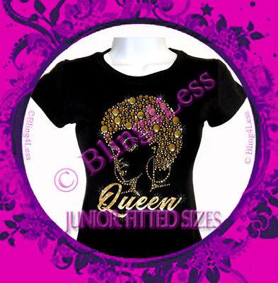 Gold Glitter Shirt (Afro Lady QUEEN - GOLD Glitter Vinyl - Rhinestone Iron on T-Shirt - Natural)