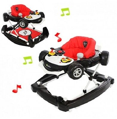 NEW 4BABY BLACK RED MUSICAL COUPE CAR HEIGHT ADJUSTABLE BABY WALKER ROCKER