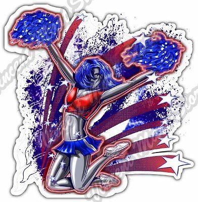 Cheerleading Bumper Stickers ( Cheerleader Pom Swirls Dance Spirit Blast Car Bumper Vinyl Sticker Decal 4.6