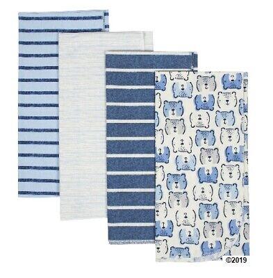 Gerber Baby Boy 4-Pack Organic Blue Bear Flannel Blankets
