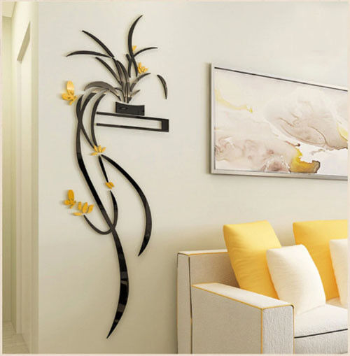 Yellow Orchid Flower 3D Acrylic Wall Sticker Self-adhesion Home Decor Living