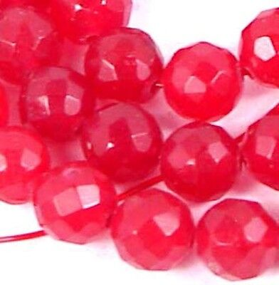 "8mm Faceted Ruby Red Jade Round Beads 15""  for sale  Shipping to India"