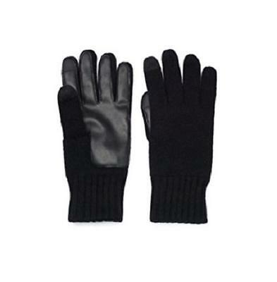 (NEW Apt. 9 Men's Knit Touchscreen M/L Black Gloves w/Wrist Cuff, Leather Palm)