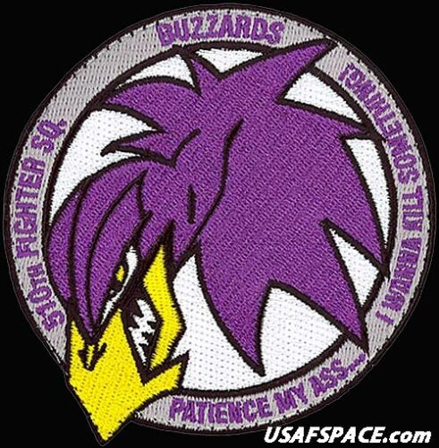 USAF 510th FIGHTER SQ -F-16 -PATIENCE MY ASS- Aviano AB, Italy - ORIGINAL PATCH