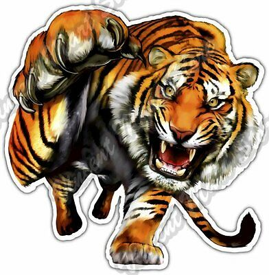 Tiger Prowl Wildlife Fangs Claw Animal Car Bumper Vinyl Sticker Decal 4.6