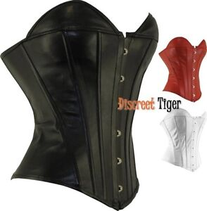 New-Corset-Top-Soft-Faux-Leather-Gothic-Steampunk-Sexy-Sweet-heart-Shape-6-to-26