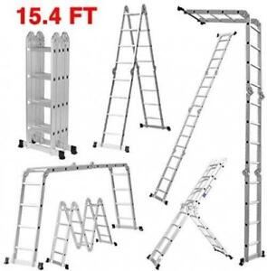 Finether 15.4ft Heavy Duty Multi Purpose Aluminum Folding Extension Ladder - BRAND NEW - FREE SHIPPING