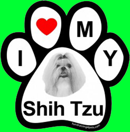 I LOVE  3 MY SHIH TZU - PAW MAGNET,Dog Cat Pet Rescue Charity
