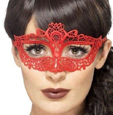 Damen Masquerade Ball Kostüm Augenmaske Filigran Augenmaske Rot von Smiffys ()