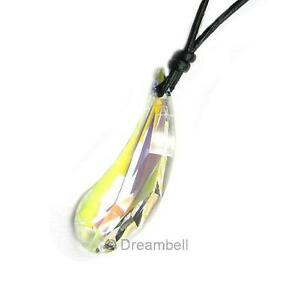 Teardrop-Pendant-1mm-Leather-Adjustable-Necklace-use-Swarovski-Elements-Crystal