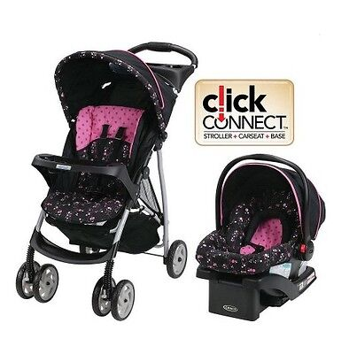 Travel System Infant Car Seat Stroller Baby Fold Toddler Harness Canopy SnugRide