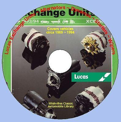 Lucas B90 Alternators, dynamos, starters, wiper motors circa 1969 ~ 1994 DVD ROM