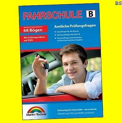 FAHRSCHULE Führerschein Prüfungsfragen Klasse B Auto 68 Fragebogen + DVD 1.04.18