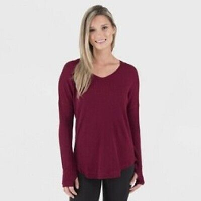 Wander by Hottotties Women's Waffle Collection Lea Long Sleeve V-Neck Maroon L