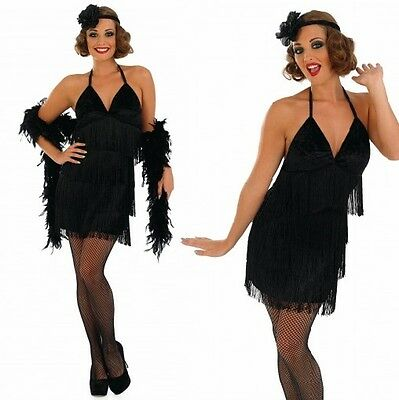 Ladies Sexy Black 1920s Flapper Girl Fancy Dress Costume Outfit 8 22