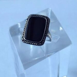 Antique Art Deco c1930's Solid Silver Marcasite & Black Onyx Ring UK Size N.