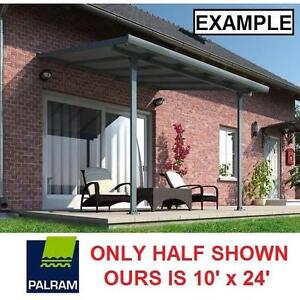NEW PALRAM FERIA PATIO AWNING KIT 10' x 24' - GREY FINISH COVERED PATIOS AWNINGS OUTDOORS GARAGE GARAGES SHEDS