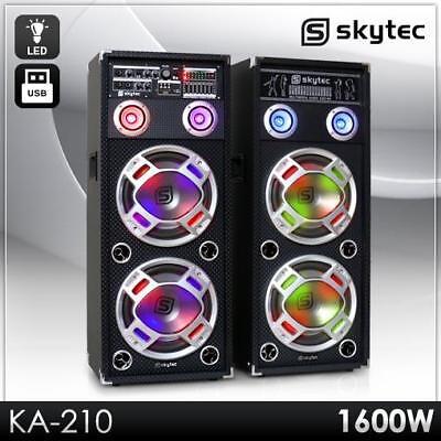 AKTIV KARAOKE PA DJ BOXEN SET PAAR DOPPEL 25CM SUBWOOFER LAUTSPRECHER USB SD MP3