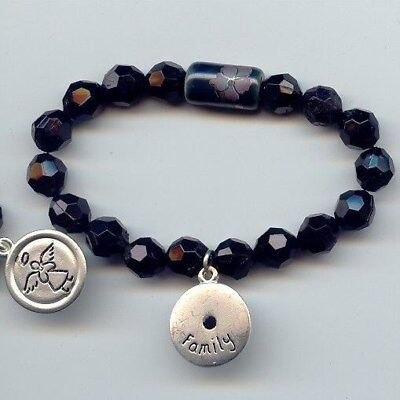 Angel Black Charm Bracelet (1 BLACK BEADED STRETCH FAMILY ANGEL CHARM BRACELET)