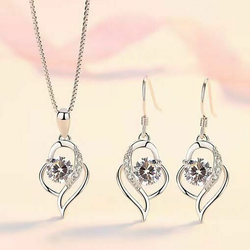 Jewellery - Swirl Stone Pendant Necklace Stud Earrings 925 Sterling Silver Women Jewellery