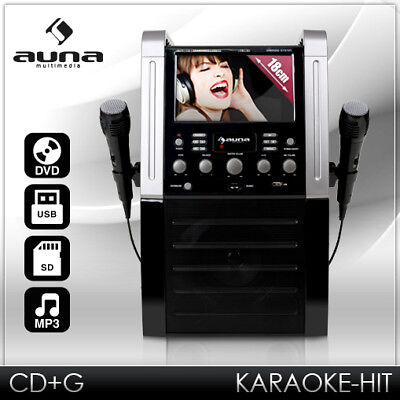 "(B-WARE) KARAOKE PARTY MUSIK ANLAGE 7"" DISPLAY DVD MP3 PLAYER USB SD RECORD 2x"