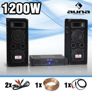 hifi stereo dj pa set 1200w anlage 2 bass lautsprecher boxen verst rker endstufe ebay. Black Bedroom Furniture Sets. Home Design Ideas