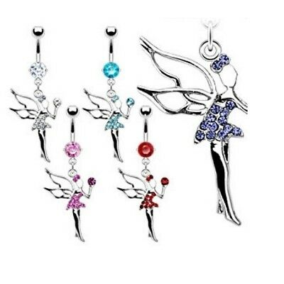 GEM PAVED FAIRY ANGEL BELLY NAVEL RING DANGLE CZ BUTTON PIERCING JEWELRY (Angel Dangle Belly Ring)