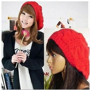 Fashion 6 Colors Warm Winter Women Beret Braided Baggy Beanie Hat Ski Cap PMM067